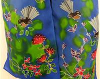 Fantails Garden Handpainted Pure Silk Scarf